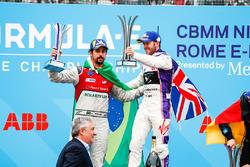 Sam Bird, DS Virgin Racing, ,wins the Rome ePrix, with Lucas di Grassi, Audi Sport ABT Schaeffler, in 2nd, Andre Lotterer, Techeetah, in 3rd