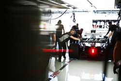 Kevin Magnussen, Haas F1 Team VF-17, is returned to the garage