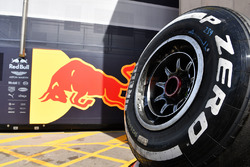 Logo Red Bull Racing e gomma Pirelli