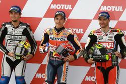 Le deuxième, Karel Abraham, Aspar Racing Team, le poleman Marc Marquez, Repsol Honda Team, le troisième, Cal Crutchlow, Team LCR Honda