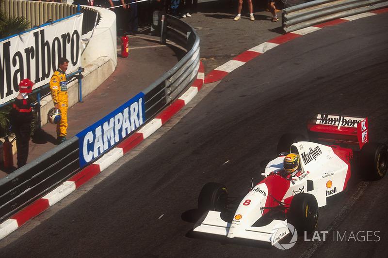 Ayrton Senna, McLaren MP4/8, Michael Schumacher, Benetton Ford