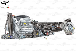 Red Bull RB8 installation of RS27 engine, gearbox, rear suspension and crash structure