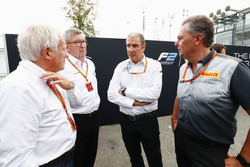 Charlie Whiting, Ross Brawn, Bruno Michel and Mario Isola at the unveiling of the new 2018 F2 car