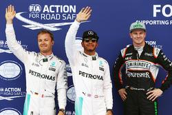 Poleman Lewis Hamilton, Mercedes AMG F1 Team, secondo qualificato Nico Rosberg, Mercedes AMG F1 Team, terzo qualificato Nico Hulkenberg, Sahara Force India
