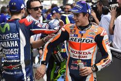 Segundo, Jorge Lorenzo, Yamaha Factory Racing y tercero, place Marc Márquez, Repsol Honda Team