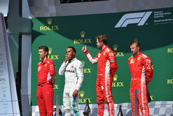 Claudio Albertini, Ferrari Engineer, Lewis Hamilton, Mercedes-AMG F1, Sebastian Vettel, Ferrari and Kimi Raikkonen, Ferrari celebrate on the podium