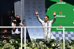 Felipe Massa, Williams celebrates the finish of his last Brazilian Grand Prix on the podium