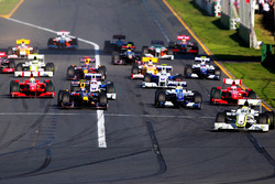 Jenson Button, Brawn Grand Prix BGP 001 leads at the start of the race