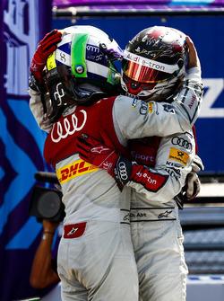 Lucas di Grassi, Audi Sport ABT Schaeffler, Daniel Abt, Audi Sport ABT Schaeffler, celebrate winning the manufacturers championship