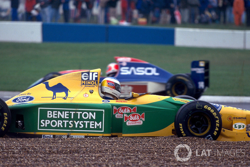 michael schumacher benetton ford b193b spins out of the. Black Bedroom Furniture Sets. Home Design Ideas