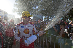 Race winner Scott McLaughlin, Team Penske Ford celebratres with champagne