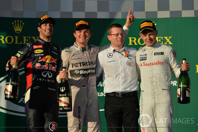 2014: 1. Nico Rosberg, 2. Kevin Magnussen, 3. Jenson Button *