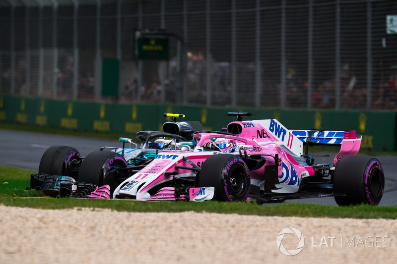Valtteri Bottas, Mercedes-AMG F1 W09 EQ Power ve Sergio Perez, Force India VJM11