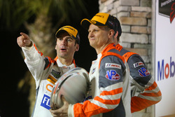 #54 CORE autosport ORECA LMP2, P: Jon Bennett, Colin Braun, Romain Dumas on the podium