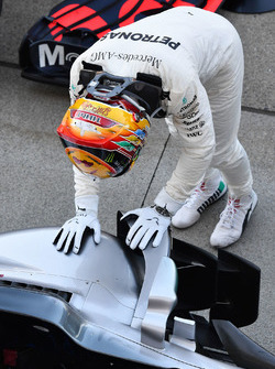 Race winner Lewis Hamilton, Mercedes-Benz F1 W08  celebrates in parc ferme