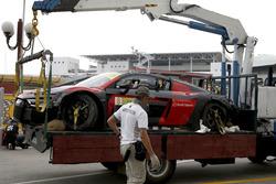 The car of Laurens Vanthoor, Audi Sport Team WRT Audi R8 LMS after the crash