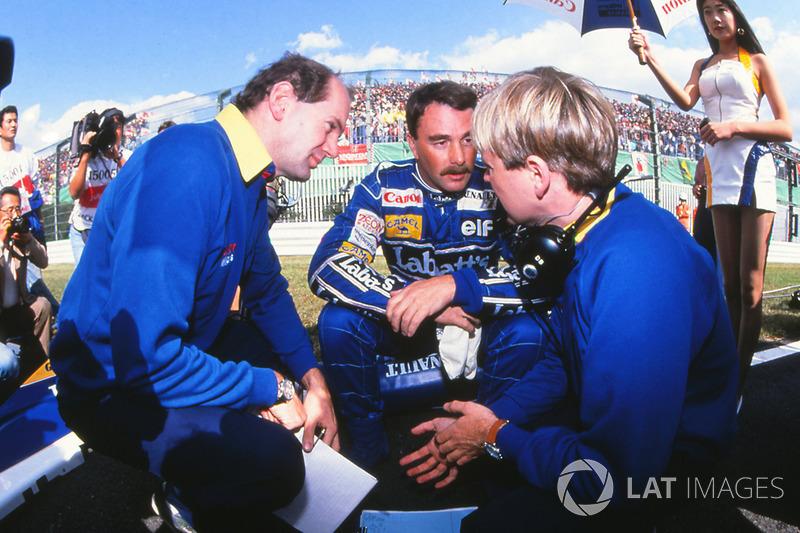 Главный конструктор Williams F1 Эдриан Ньюи, пилот команды Найджел Мэнселл и гоночный инженер Дэвид Браун