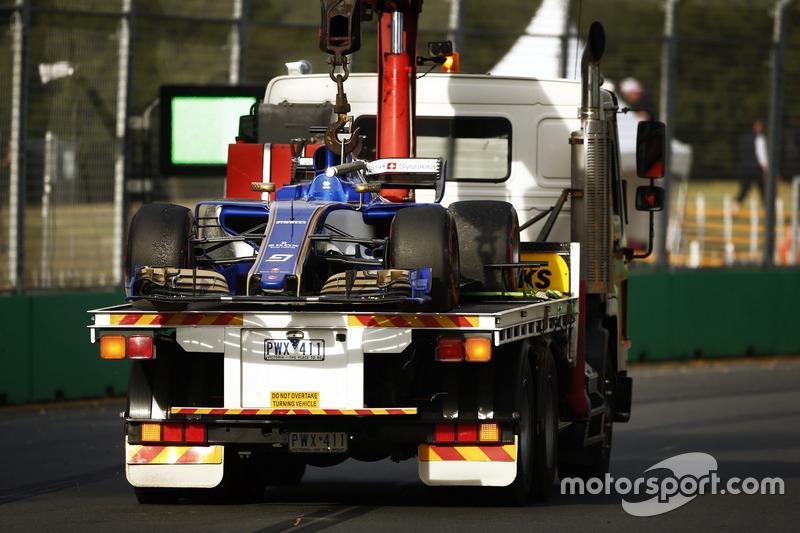 Auto von Marcus Ericsson, Sauber C36, auf dem Transporter