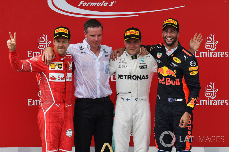 Podium: race winner Valtteri Bottas, Mercedes AMG F1, second place Sebastian Vettel, Ferrari, third place Daniel Ricciardo, Red Bull Racing