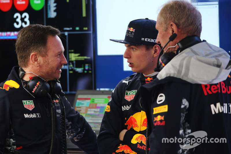 Christian Horner, Team Principal, Red Bull Racing, Max Verstappen, Red Bull Racing, and Helmut Markk