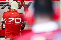 Sebastian Vettel, Ferrari, a Ferrari 70th anniversary design on his overalls