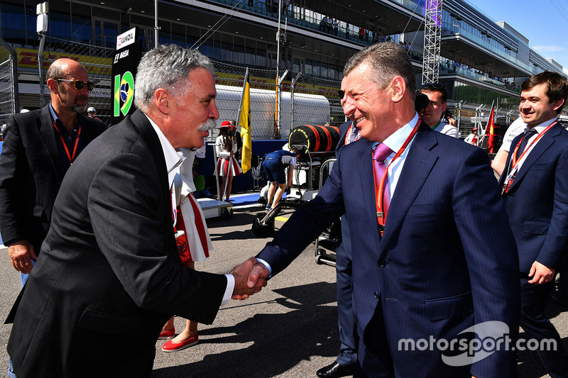 Chase Carey, Chief Executive Officer and Executive Chairman of the Formula One Group and Dmitry Kozak, Deputy Prime Minister of the Russian Federation
