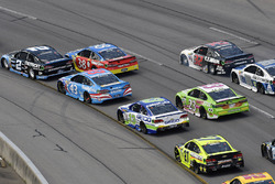 Brad Keselowski, Team Penske Ford, David Ragan, Front Row Motorsports Ford, Aric Almirola, Richard Petty Motorsports Ford