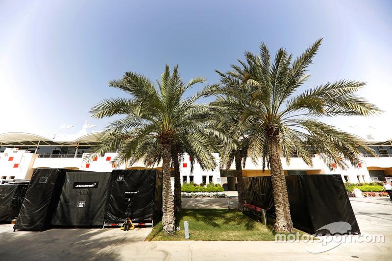 McLaren freight in the paddock