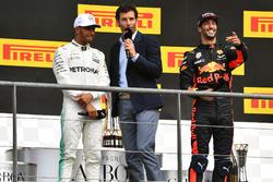 Lewis Hamilton, Mercedes AMG F1 and Mark Webber, Daniel Ricciardo, Red Bull Racing on the podium