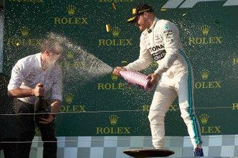 Valtteri Bottas, Mercedes AMG F1, 1st position, sprays the victory Champagne