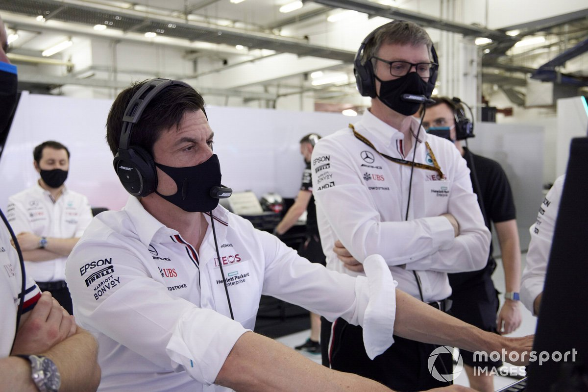 Toto Wolff, Team Principal and CEO, Mercedes AMG, and James Allison, Technical Director, Mercedes AMG