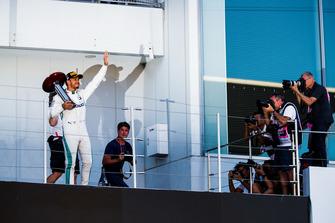 Race winner Race winner Lewis Hamilton, Mercedes AMG F1, on the podium
