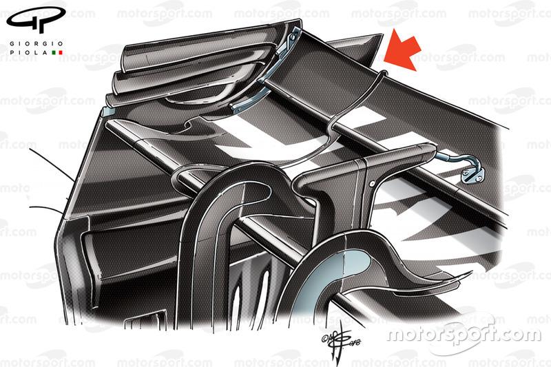 Ala trasera del Haas VF-18 rear wing en el GP de Bélgica