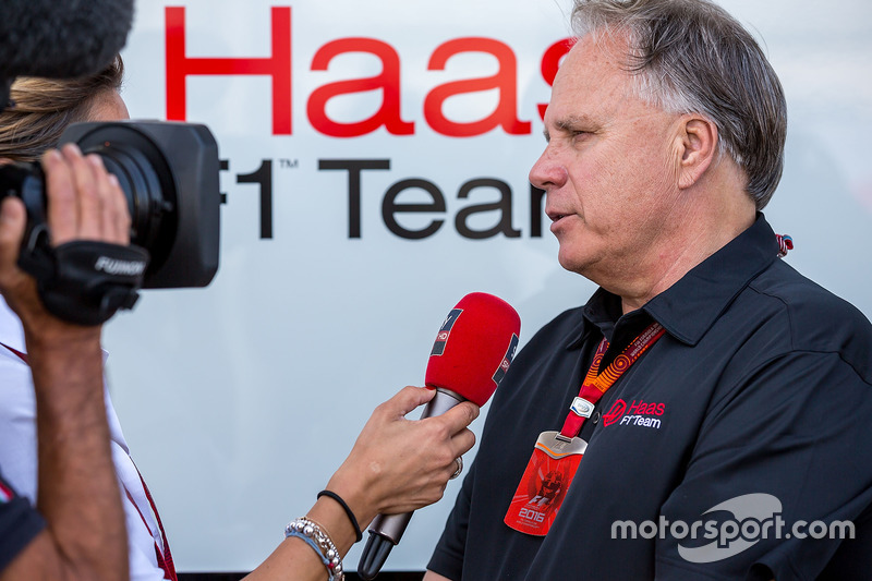 Gene Haas, Haas Automotion President with the media