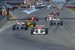 Ayrton Senna, McLaren leads Alain Prost, Williams; Michael Schumacher, Benetton; Damon Hill, Williams; Gerhard Berger, Ferrari; Mika Hakkinen McLaren and Jean Alesi, Ferrari