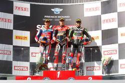 Podium: race winner Chaz Davies, Ducati Team, second place Michael van der Mark, Honda World Superbike Team, third place Tom Sykes, Kawasaki Racing