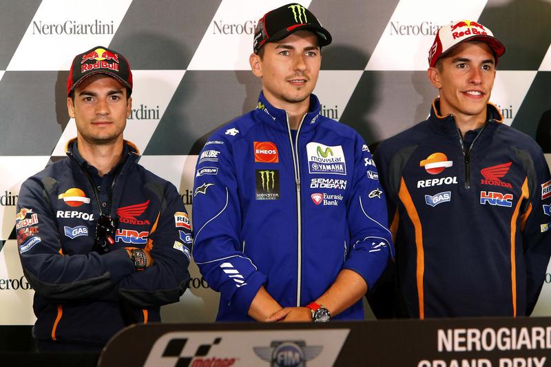 Dani Pedrosa, Repsol Honda Team, Jorge Lorenzo, Yamaha Factory Racing e Marc Marquez, Repsol Honda Team