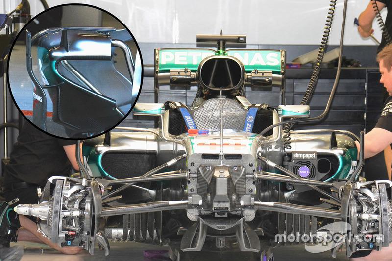 Mercedes AMG F1 Team W07 side pods detail