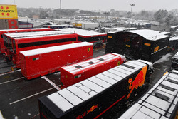 Trucks in the Paddock as snow stops testing on day three