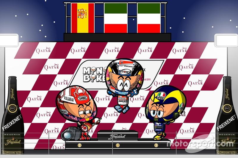 El podio del GP de Qatar de MotoGP 2018, por MiniBikers