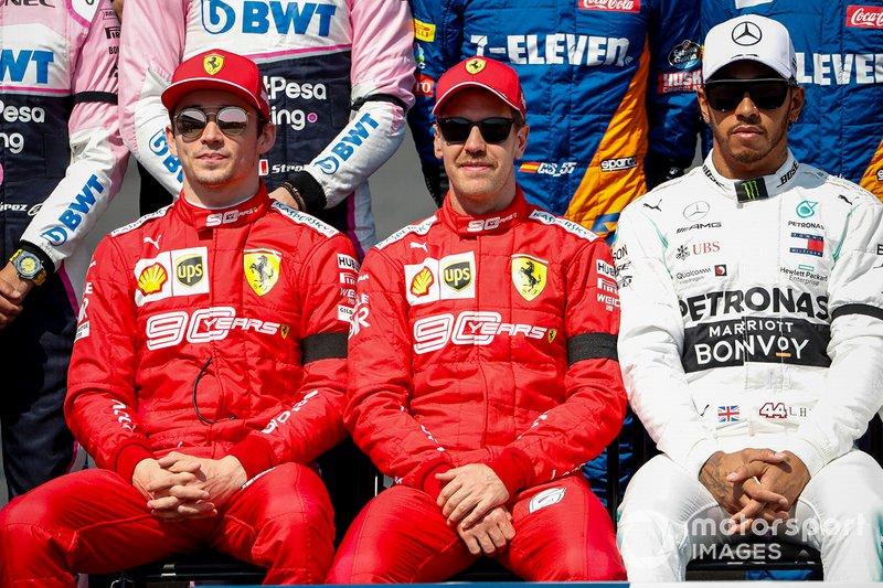 Charles Leclerc, Ferrari, Sebastian Vettel, Ferrari y Lewis Hamilton, Mercedes AMG F1