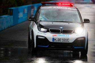 Race Director Scot Elkins checks the track conditions in the BMW i3