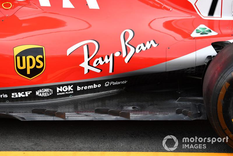 La fila de aletas colocadas en el borde exterior del piso de Ferrari se vio brevemente en los EE. UU., Pero no se corrió y se probarán más en México.