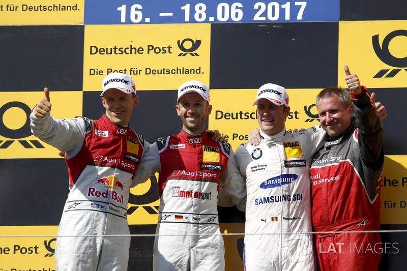 Пожіум:  переможець Рене Раст, Audi Sport Team Rosberg, Audi RS 5 DTM, друге місце Маттіас Екстрьом, Audi Sport Team Abt Sportsline, Audi A5 DTM, третє місце Максим Мартен, BMW Team RBM, BMW M4 DTM