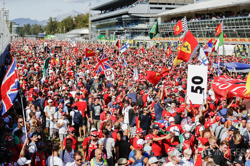 A mass of red Ferrari fans on the circuit after the race