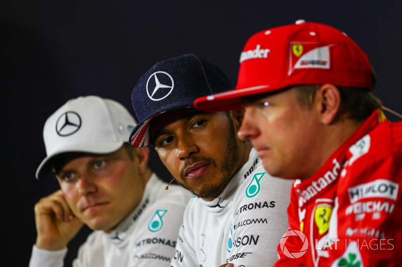 1. Lewis Hamilton, Mercedes AMG F1; 2. Valtteri Bottas, Mercedes AMG F1; 3. Kimi Raikkonen, Ferrari