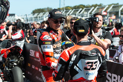 Second place Chaz Davies, Ducati Team, third place Marco Melandri, Ducati Team