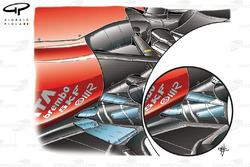 Ferrari F10 lowline exhaust changes (old specification inset) tailpipe revised and metal spatter plate added to floor to reduce warp