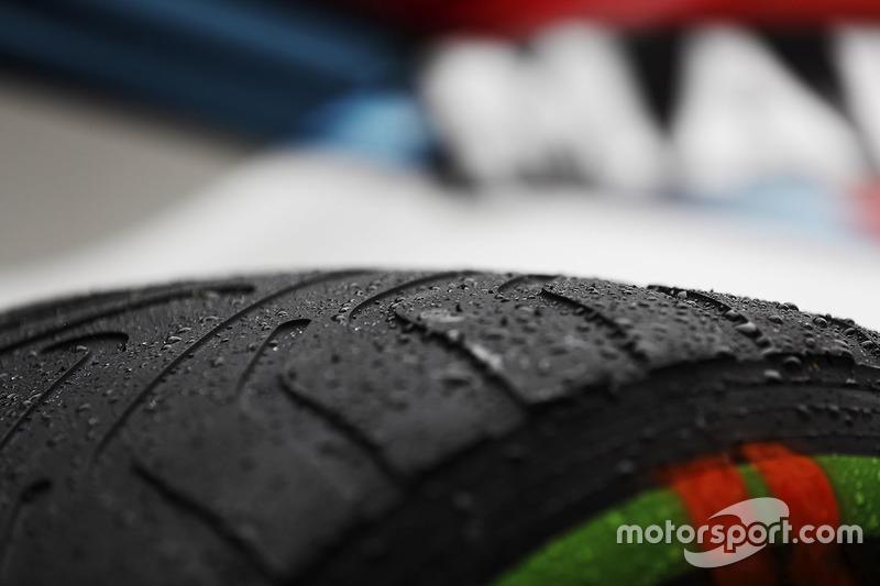 Wet weather Pirelli tyre detail