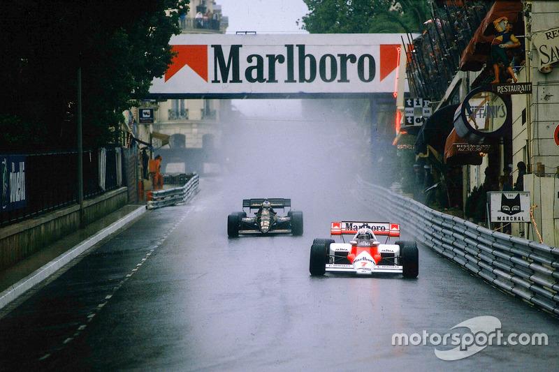 Alain Prost, McLaren MP4/2 TAG Porsche; Nigel Mansell, Lotus 95T Renault